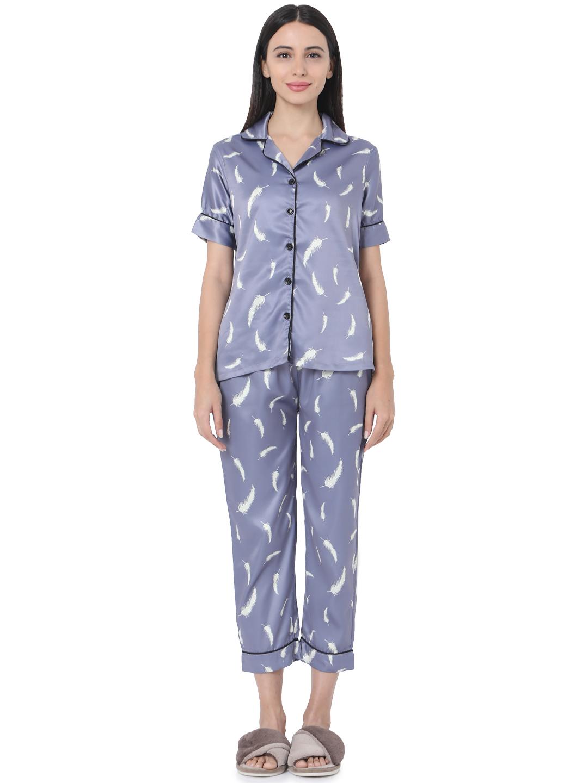 Smarty Pants   Smarty Pants women's silk satin Lavender color feather print night suit