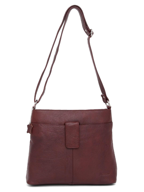 WildHorn | WildHorn Upper Grain Genuine Leather Ladies Cross-body Hand Bag with Adjustable Strap - Maroon