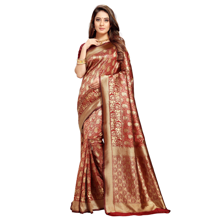 POONAM TEXTILE | Banarasi Maroon Jacquard Silk Woven Zari Saree