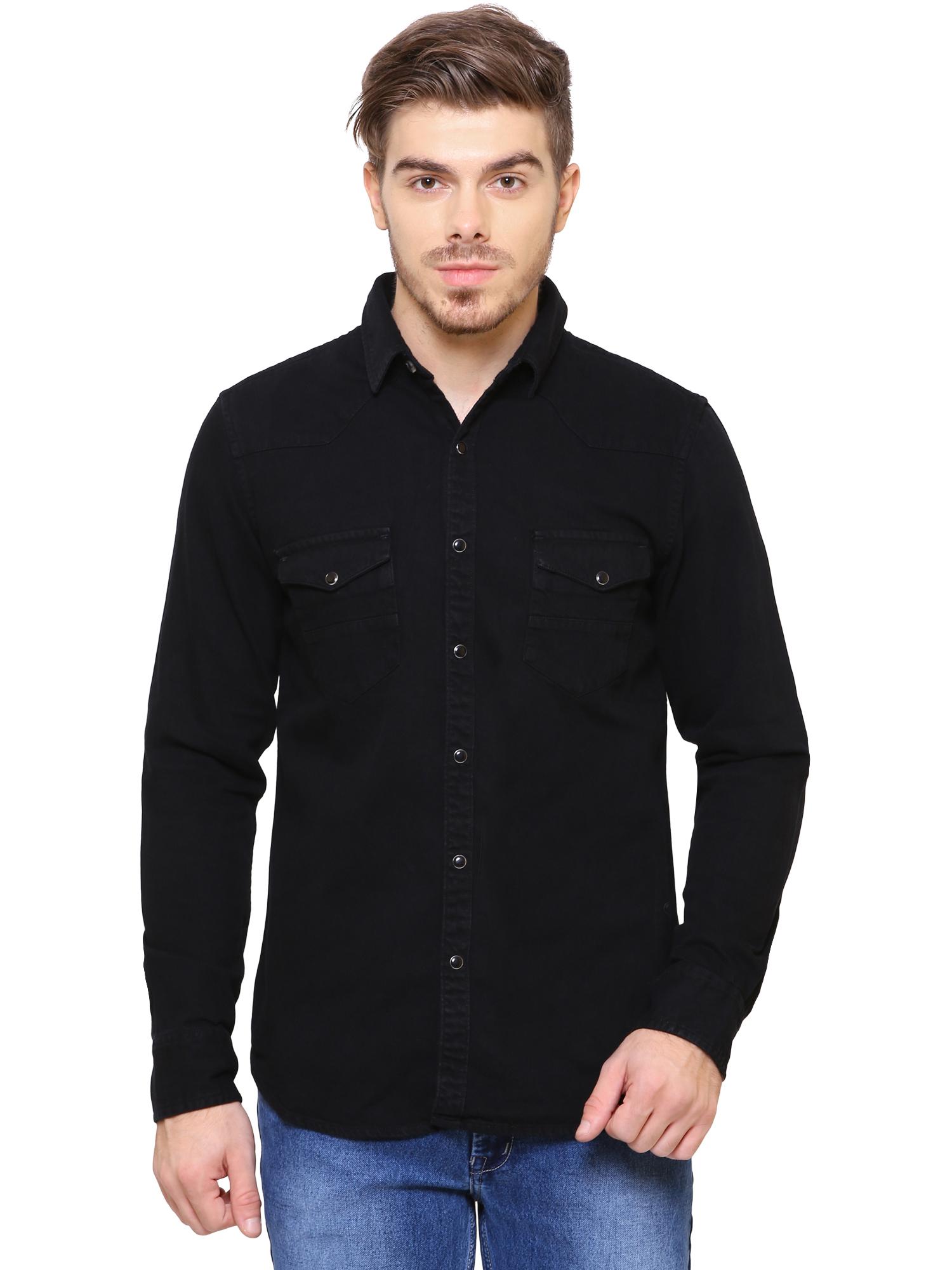 Southbay   Southbay Men's Jet Black Casual Denim Shirt- SBCLFS688BK