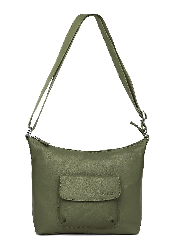 WildHorn | WildHorn Upper Grain Genuine Leather Ladies Tote, Sling, Shoulder, Hand Bag with Adjustable Strap - Green