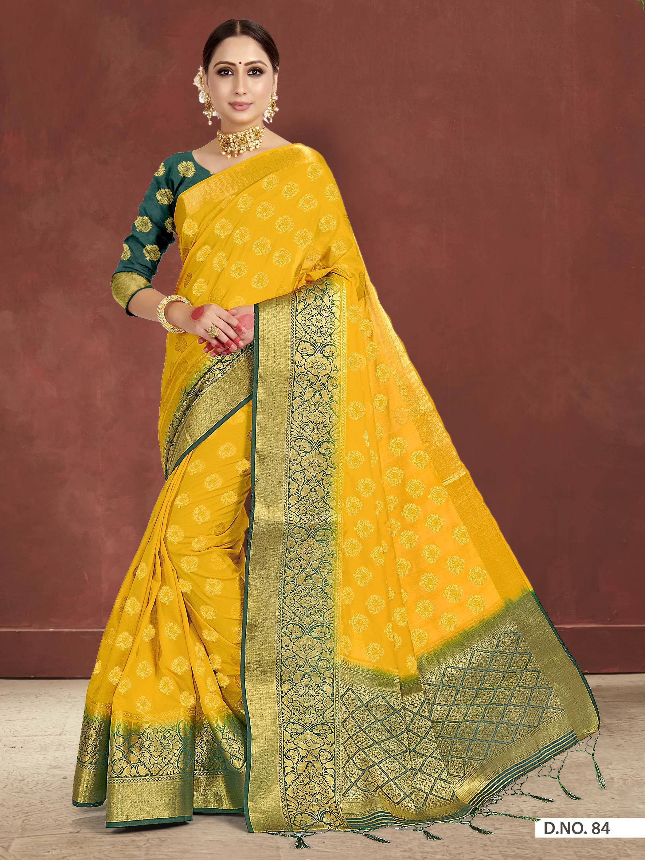 POONAM TEXTILE   Latest Yellow Beige Raw Silk Woven Festive Saree