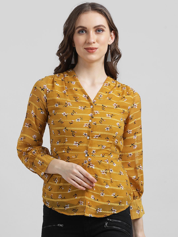 Zink London   Zink London Women's Yellow Shirt Style Top