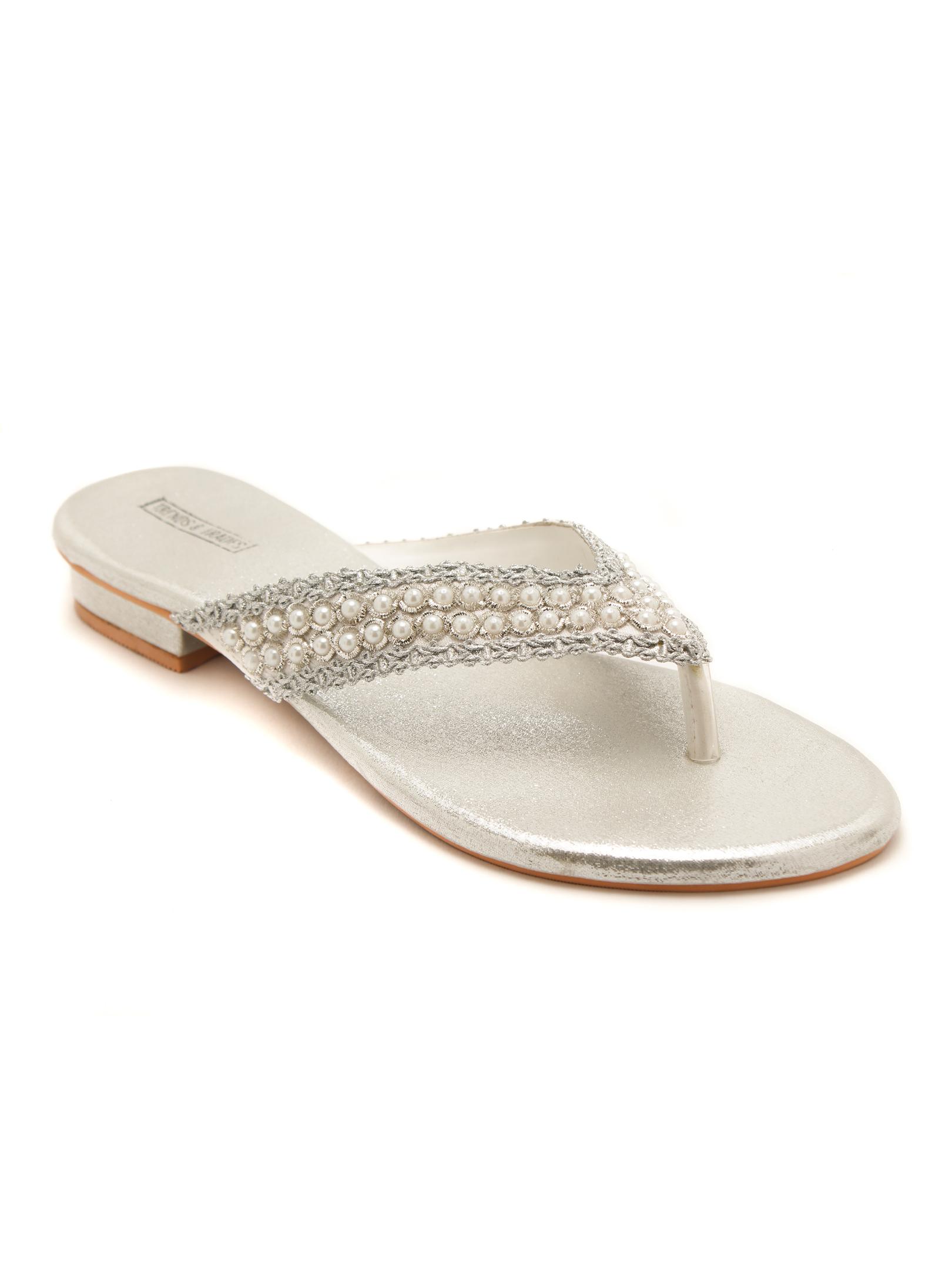 Trends & Trades   Women Silver Embellished Open Toe Flats