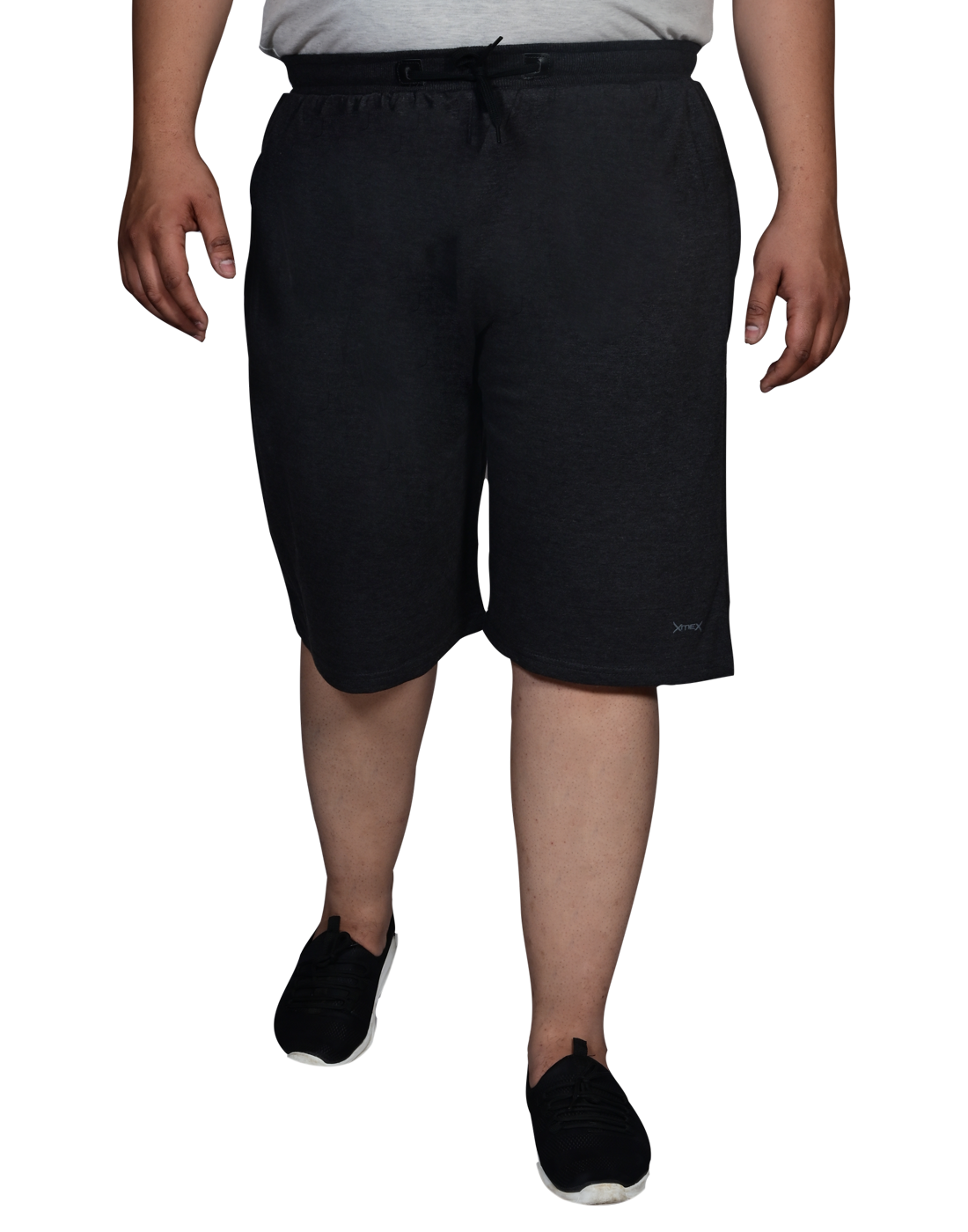 XMEX | Xmex Grey Plus Size Plain Hosiery Cotton Shorts with Zipped Pockets for Men