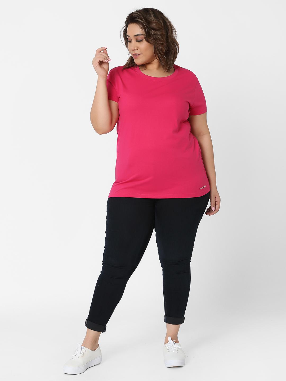 Marca Bold   Fuchsia Embellished Basic Regular Fit T-shirt