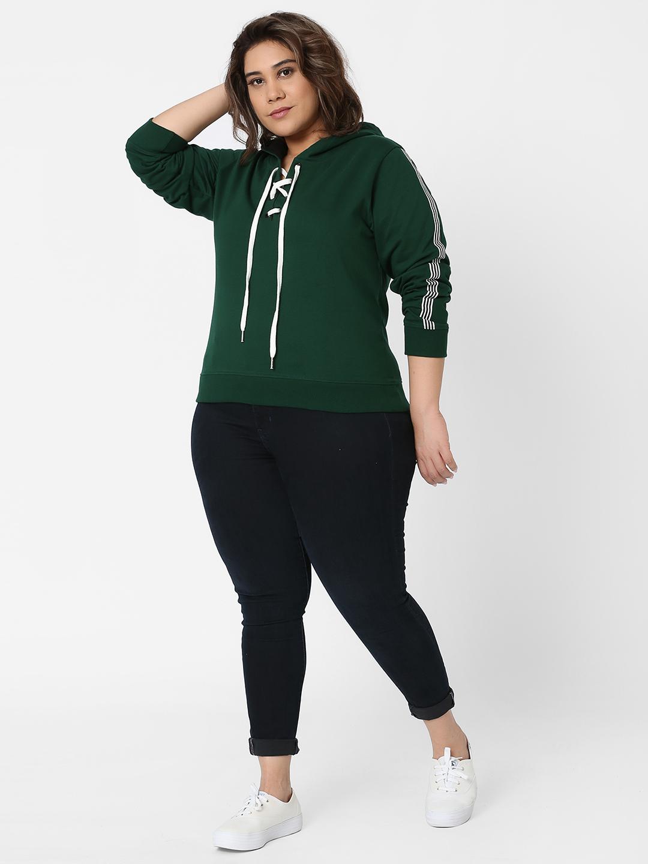 Marca Bold | Green Taped Sleeve Hooded Sweatshirt