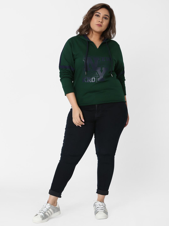 Marca Bold | Green Graphic Print Hooded Sweatshirt