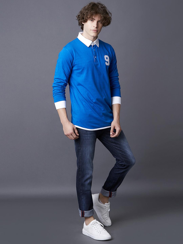 MARCA DISATI   Snorkel Blue Solid Reversible Polo T-Shirt