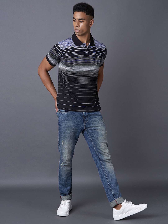 MARCA DISATI   Black Striped Polo T-Shirt