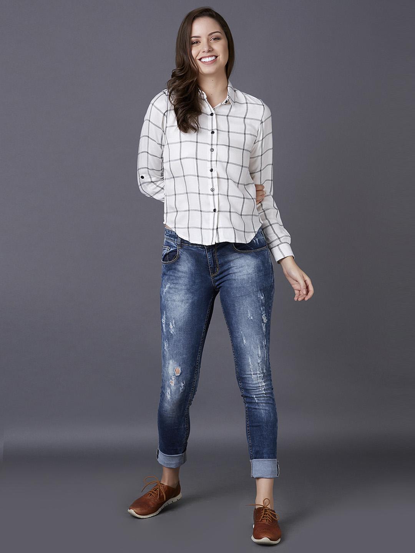 MARCA DISATI   White Checked Casual Shirt