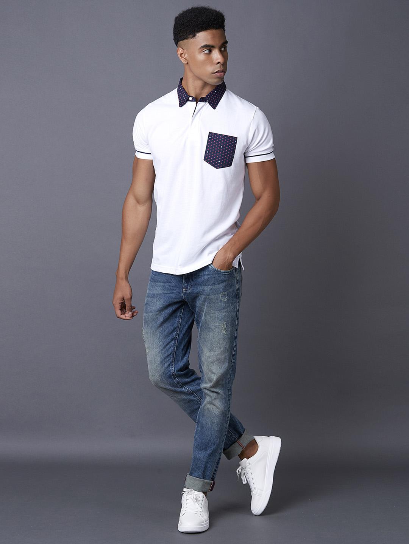 MARCA DISATI | White Solid Polo T-Shirt