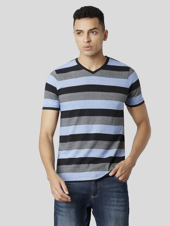 MARCA DISATI | Blue Yarn Dyed Striped T-shirt
