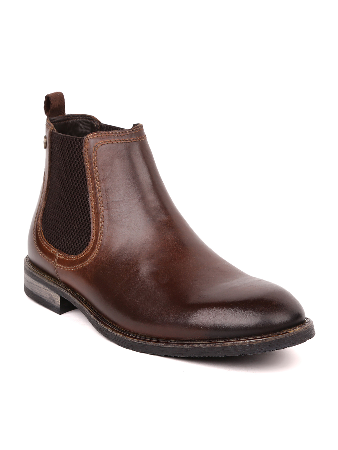 MASABIH   Masabih Genuine Leather Brown Chelsea Boots