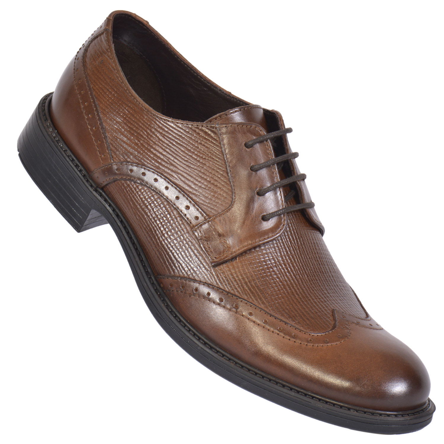 MASABIH | MASABIH Genuine Leather Men's Brown Lace-Up Formals