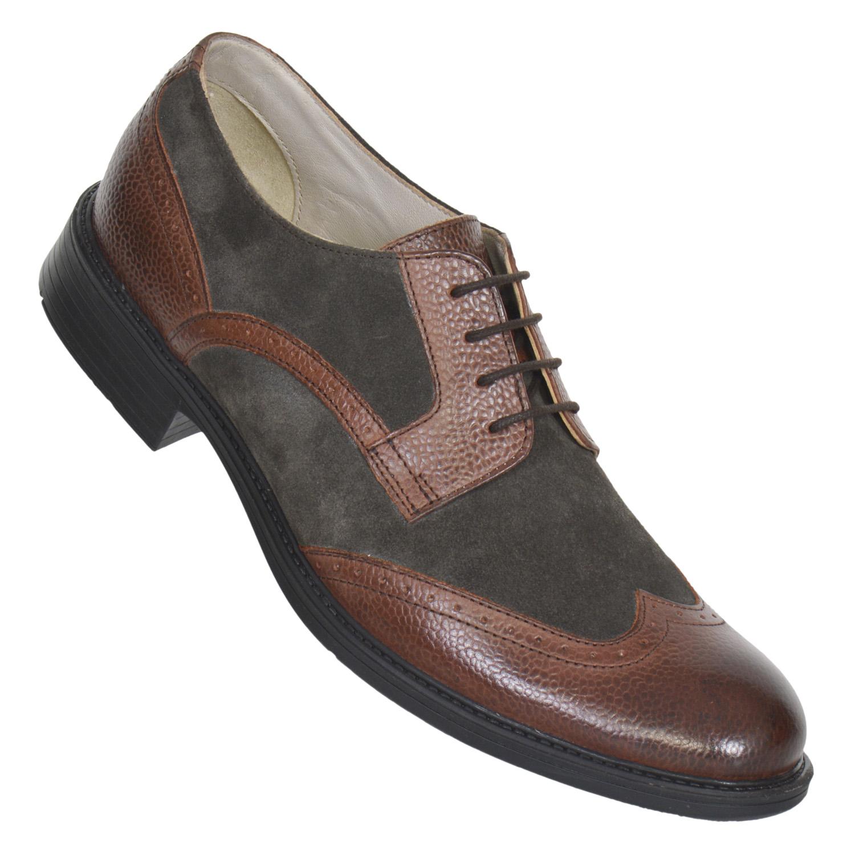 MASABIH | MASABIH Genuine Leather Men's Grey Lace-Up Formals