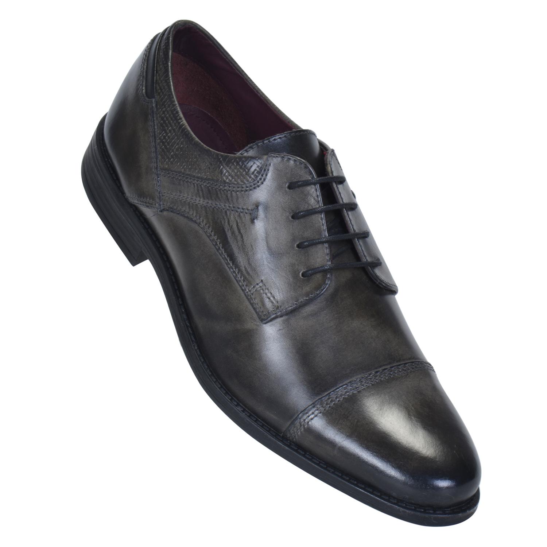 MASABIH   MASABIH Genuine Leather Men's GREY / BLACK Lace-Up Formals