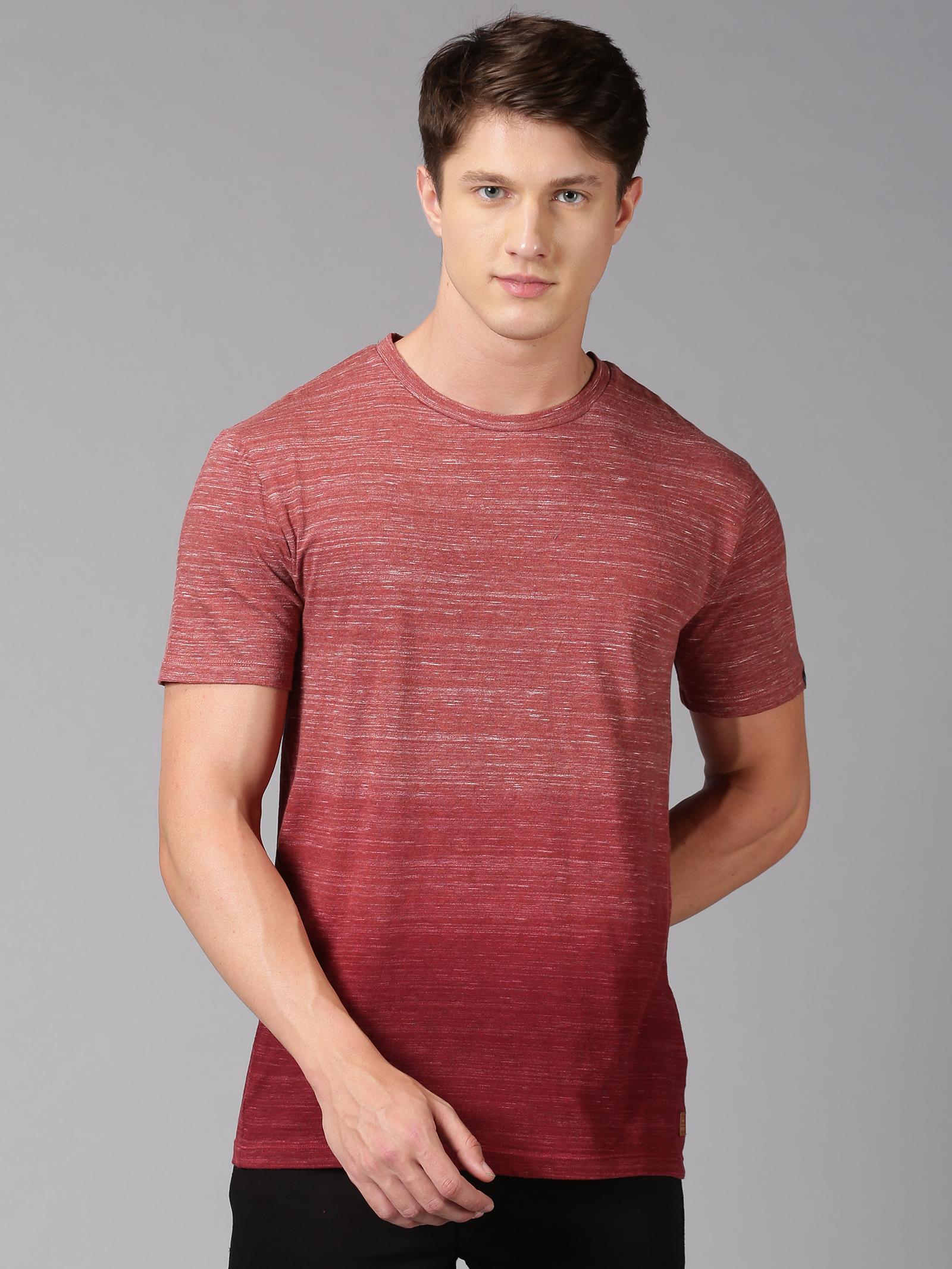 UrGear | UrGear Striped Men Round Neck Maroon T-Shirt