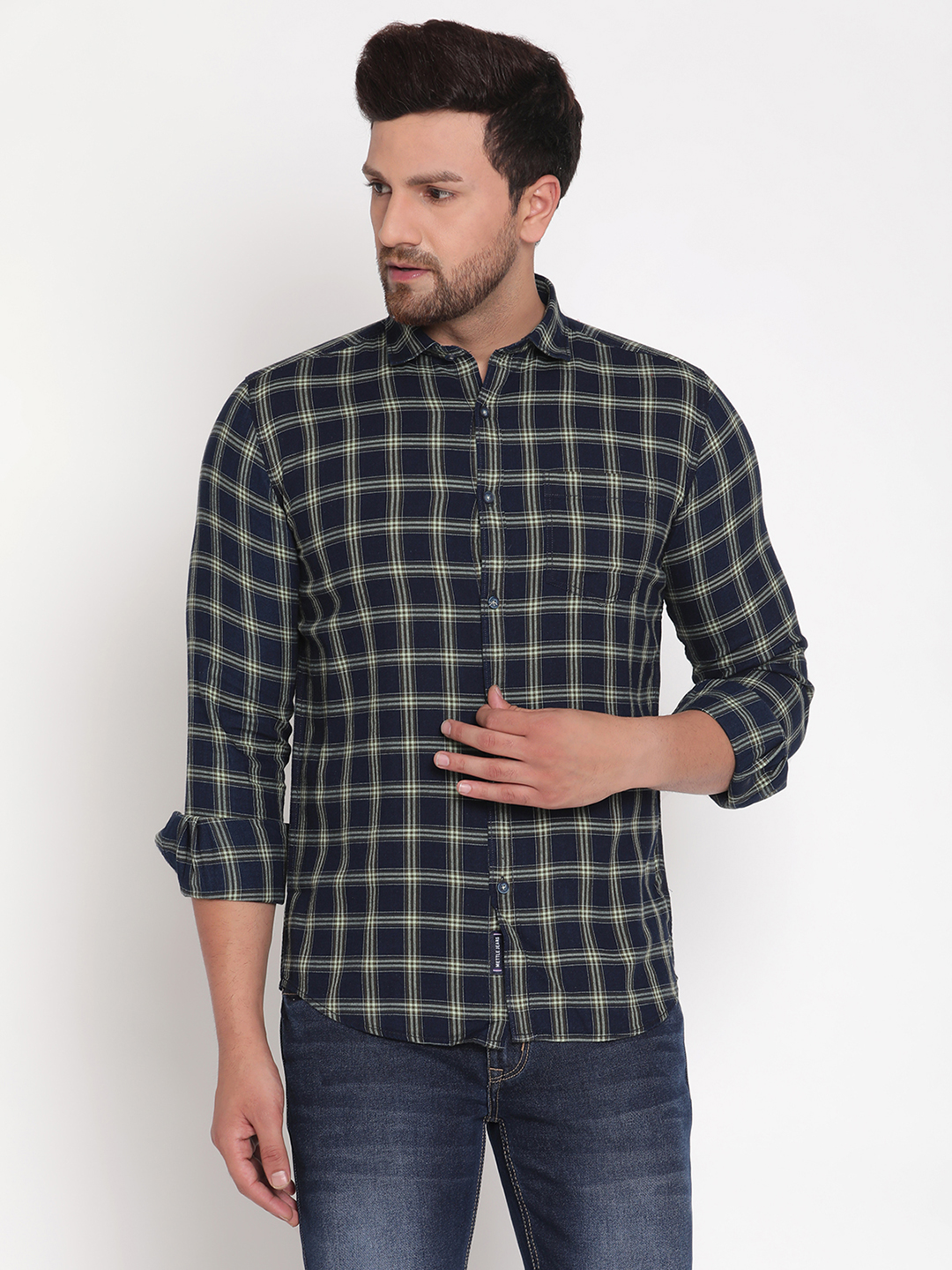 METTLE   Men OLIVE Casual Shirts