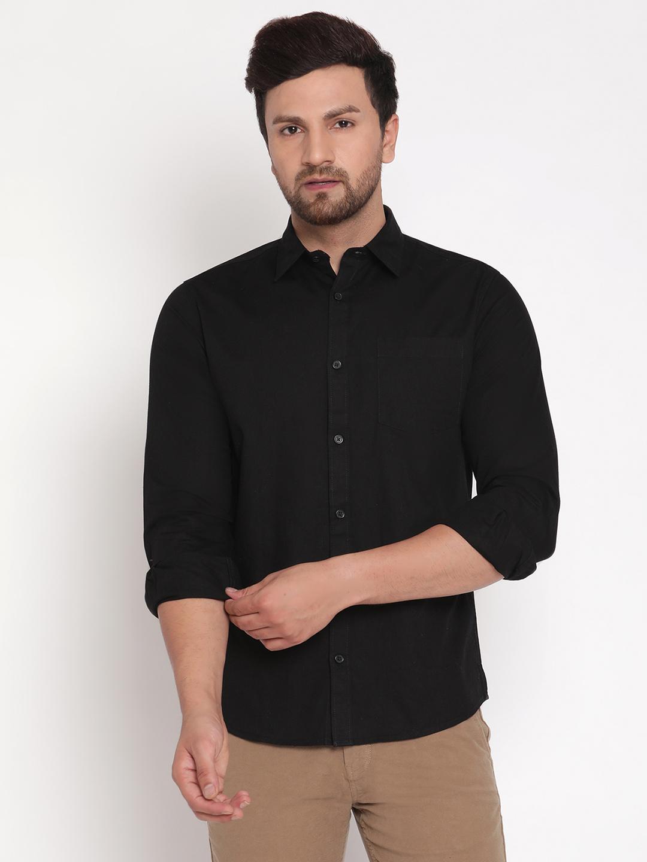 METTLE   Men BLACK Casual Shirts