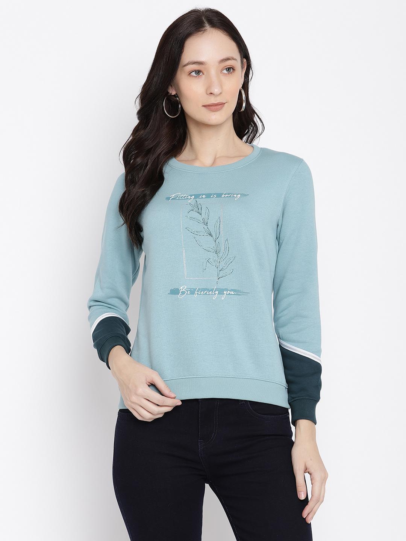 METTLE   Women LIGHT TEAL Sweatshirts