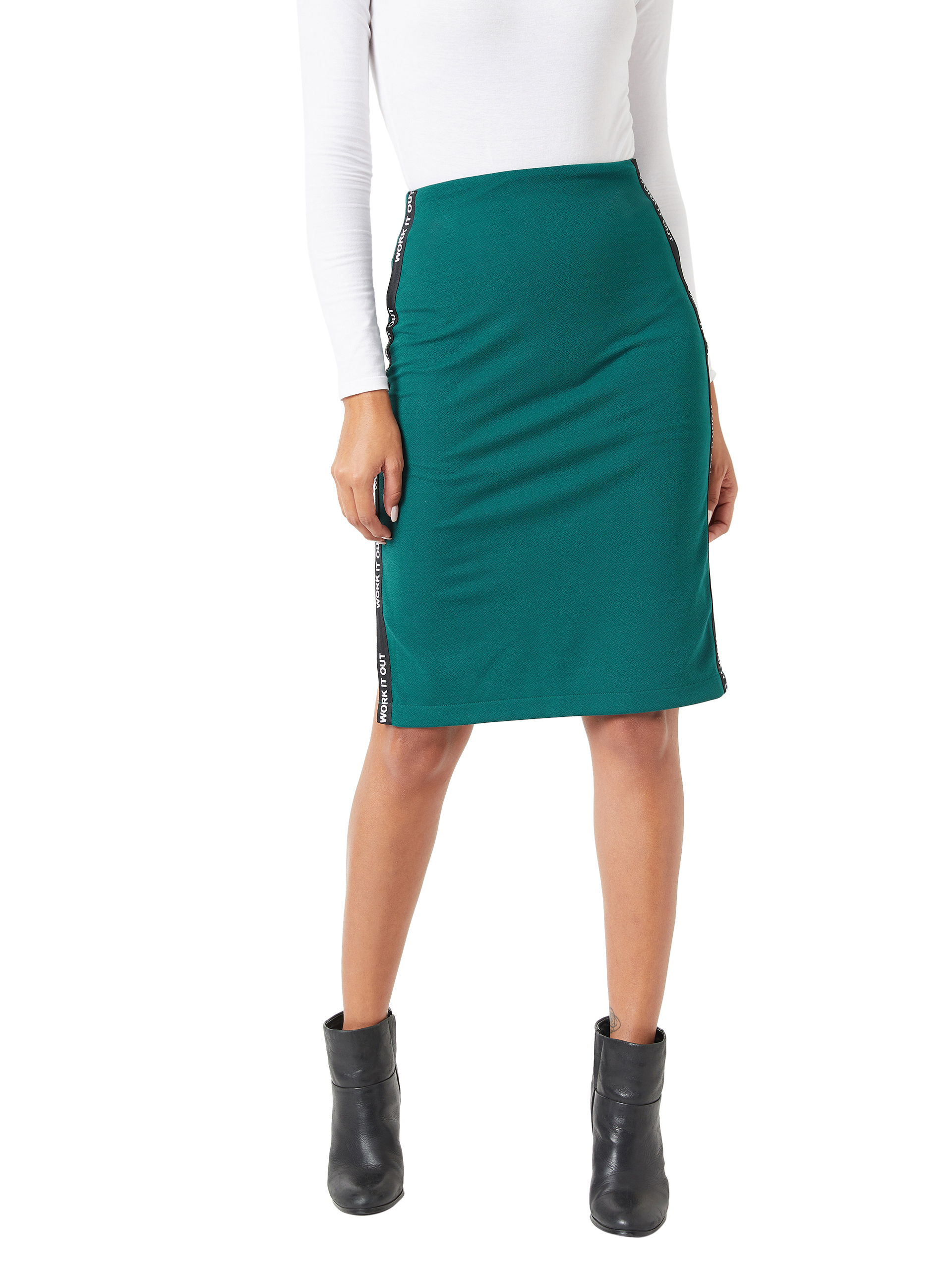 MISS CHASE    Forest Green Printed Twill Tape Detailing Solid Bodycon Midi Skirt