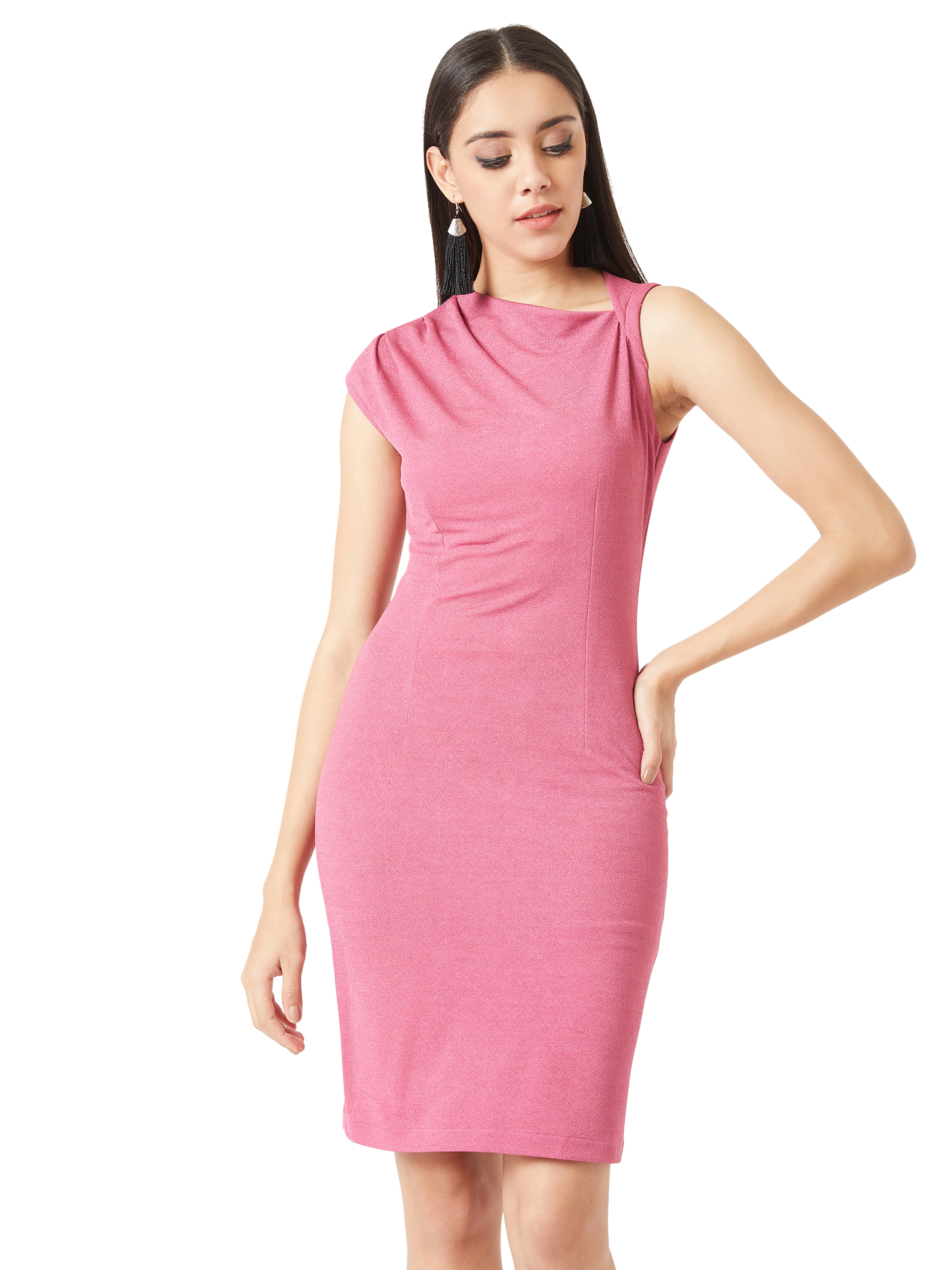 MISS CHASE |  Pink V-Neck Sleeveless Solid Pleated Bodycon Mini Dress