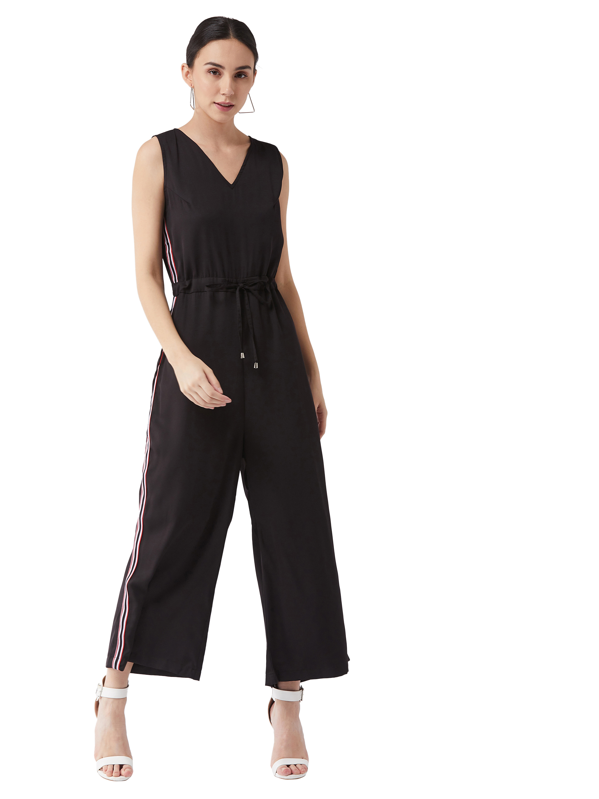MISS CHASE |  Black V-Neck Sleeveless Solid Straight Leg Jumpsuit