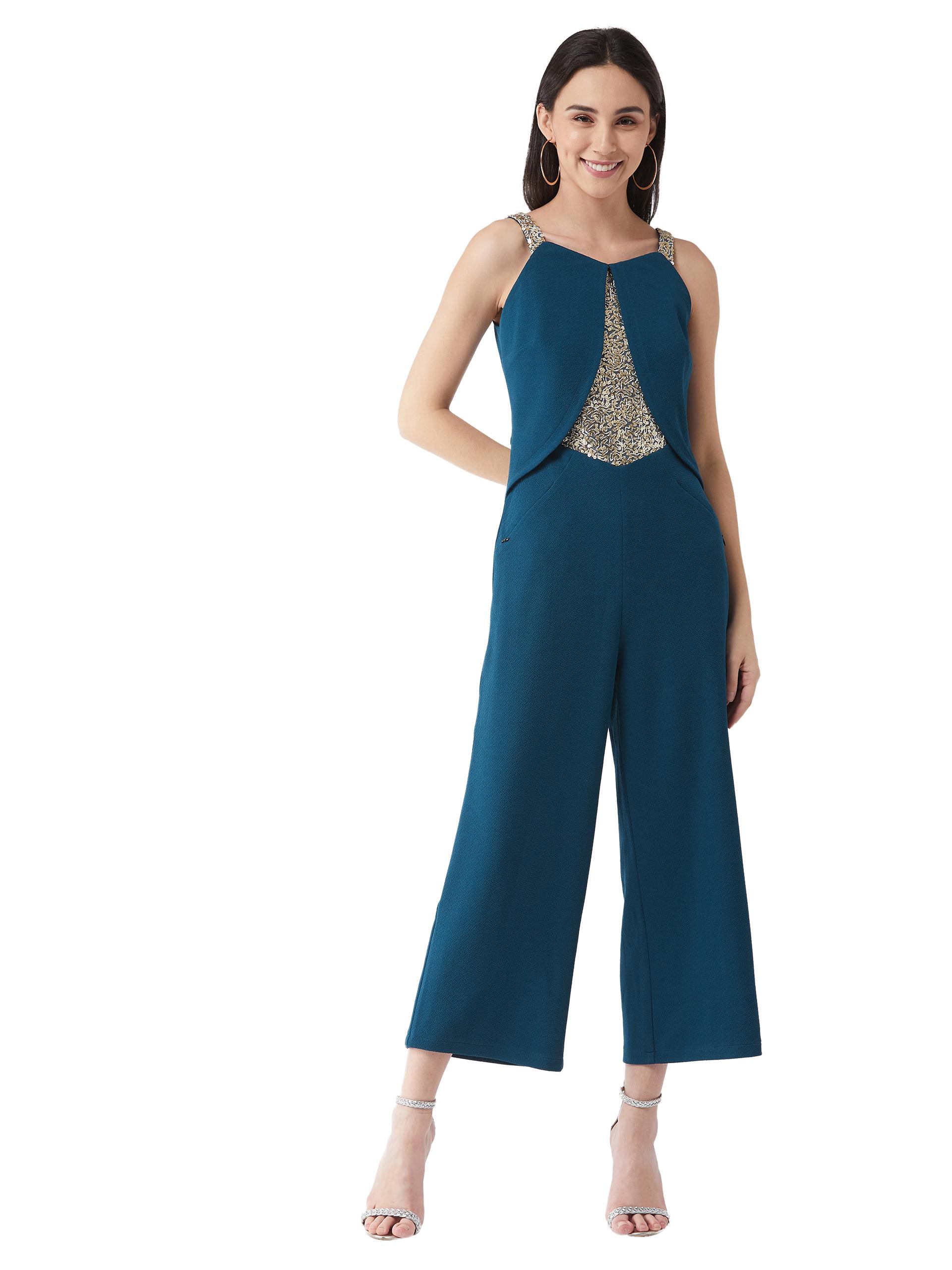 MISS CHASE    Teal V-Neck Sleeveless Solid Embellished Regular Jumpsuit