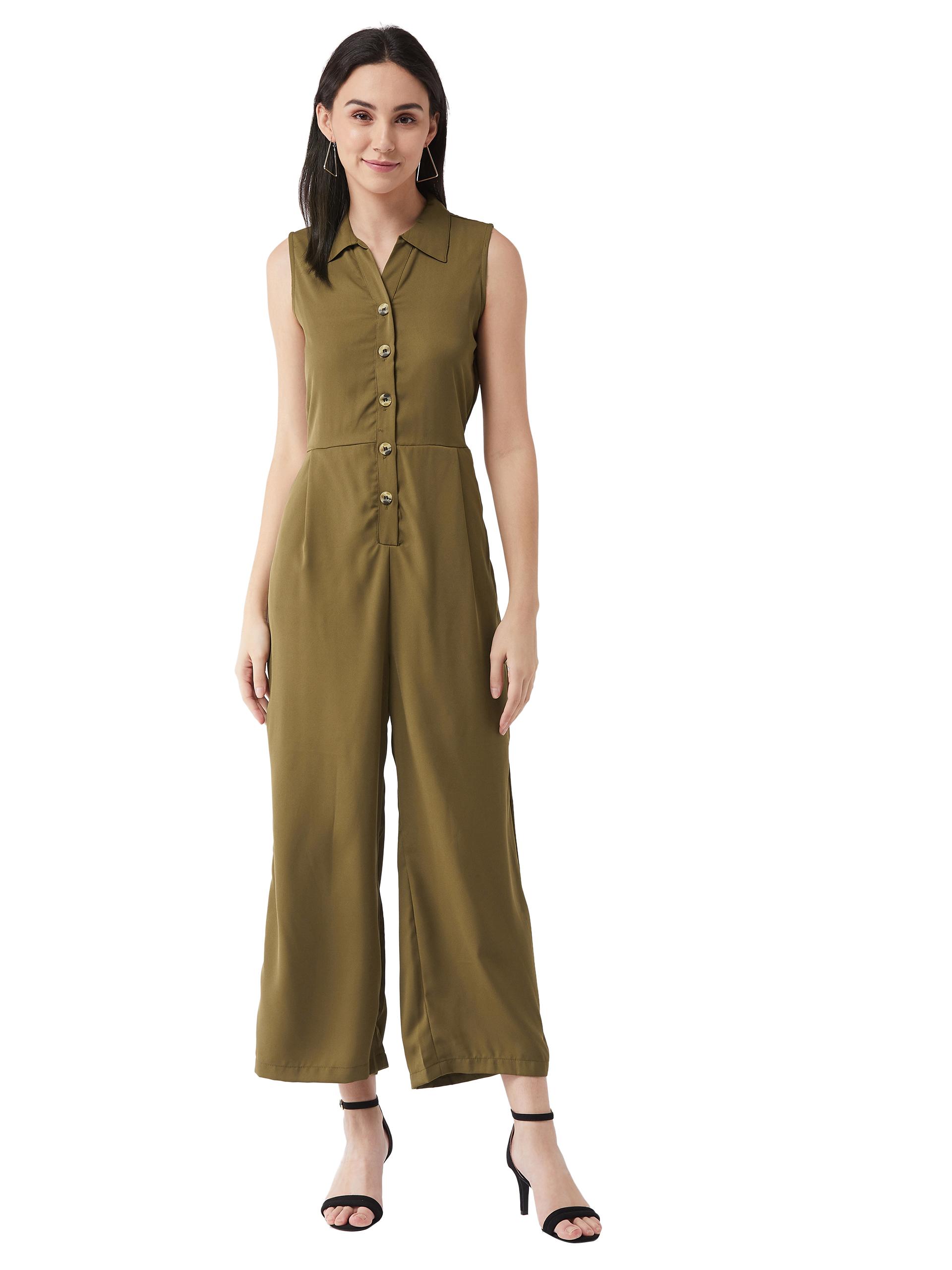 MISS CHASE |  Olive Green Solid Regular Length V - Neck Sleeveless Front Pleat Wide Leg Jumpsuit