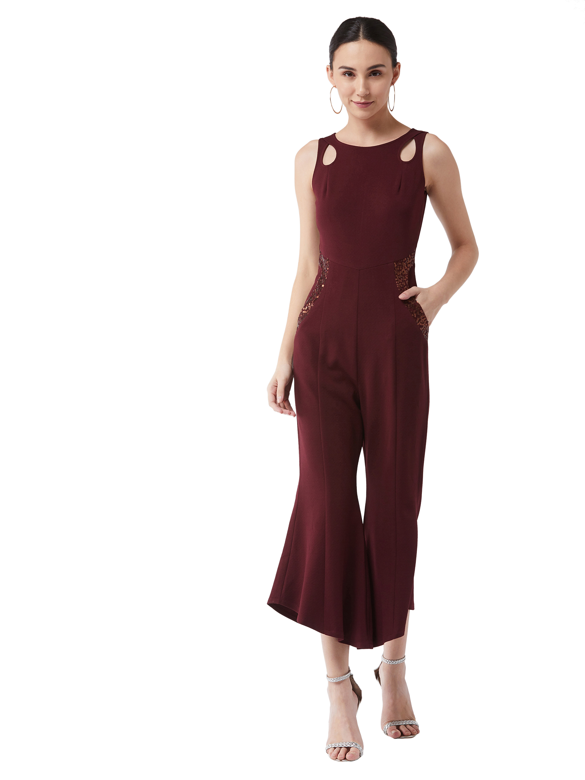 MISS CHASE |  Wine Solid Slim Fit Round Neck Sleeveless Regular Length Bell Bottom Jumpsuit