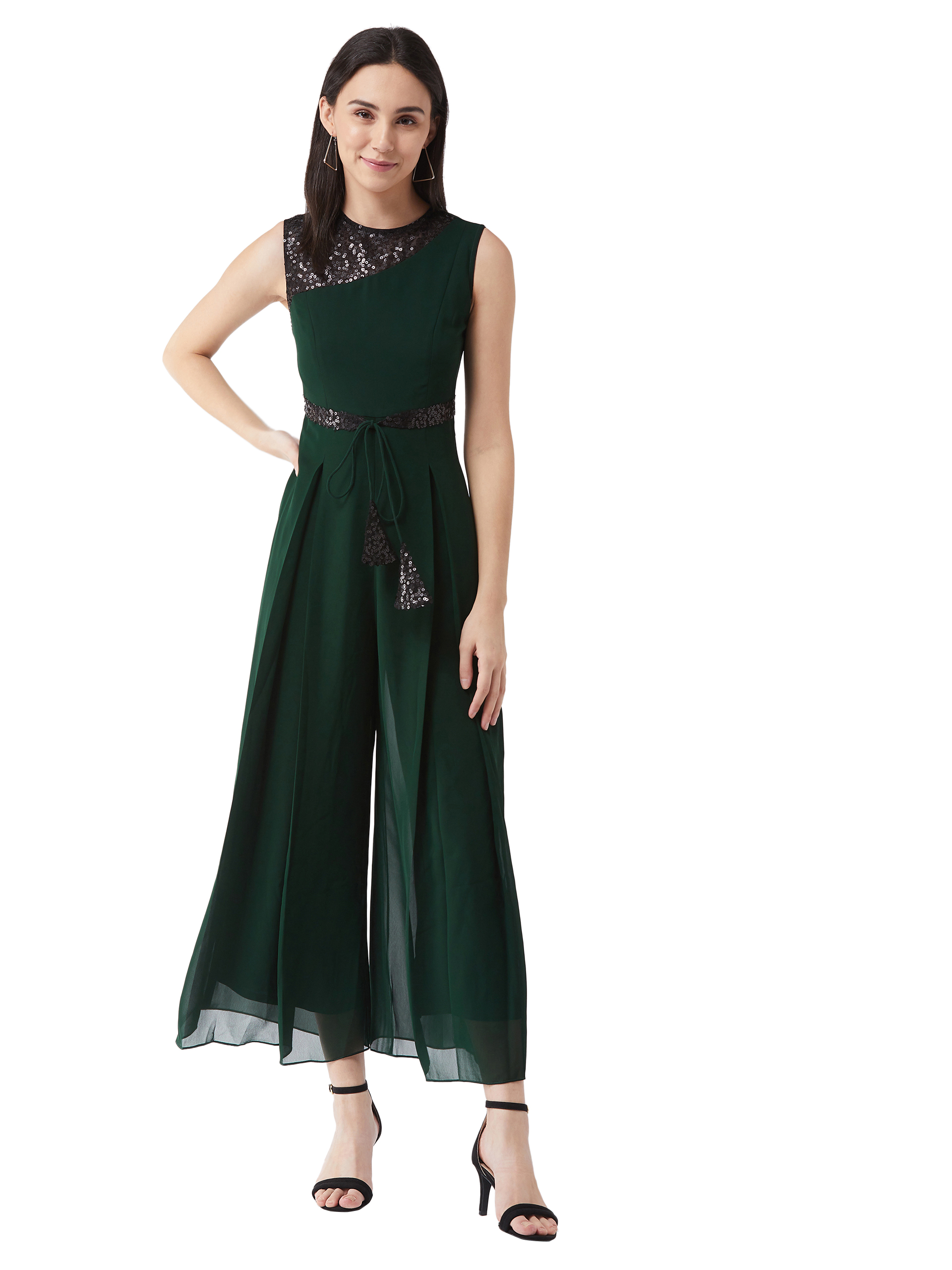 MISS CHASE |  Green Solid Relaxed Fit Sleeveless Round Neck Ankle-Length Straight Jumpsuit