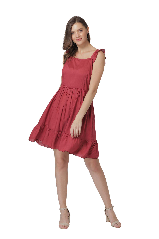Modriba | Modriba Cotton Solid A Line Frilly Dress