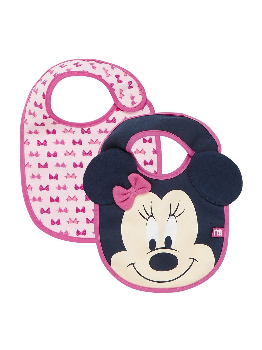 Mothercare | Minnie Pink and Blue Printed Bib - Pack of 2