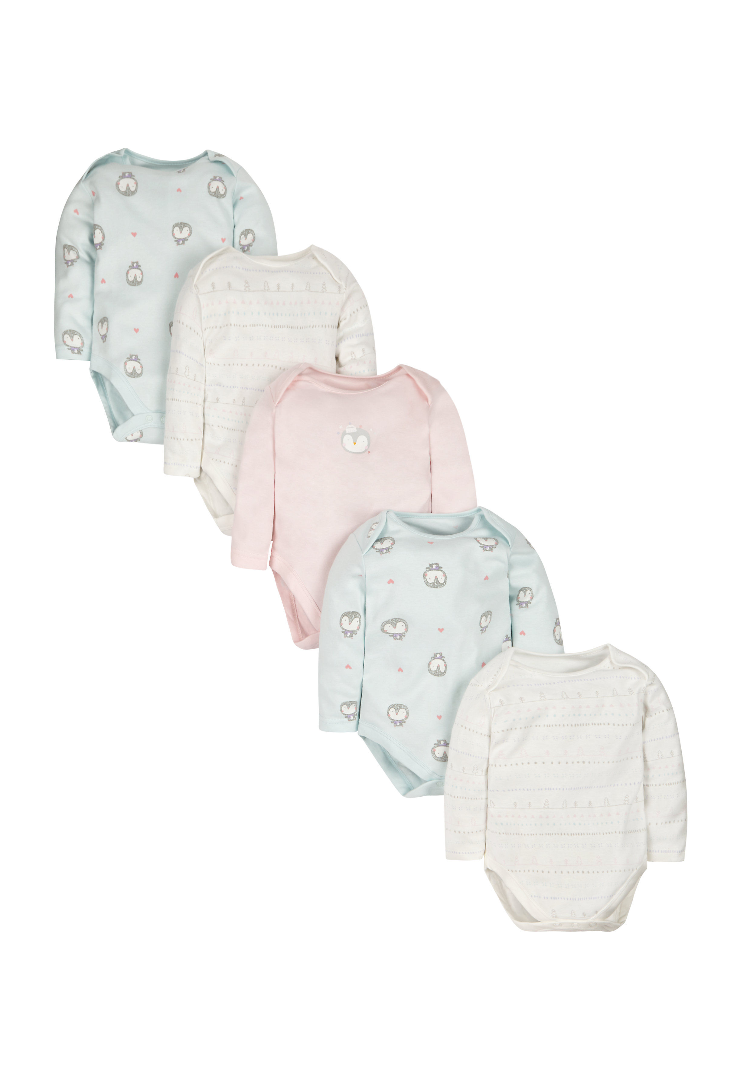 Mothercare | Girls Full Sleeves Bodysuit Penguin Print - Pack Of 5 - Multicolor