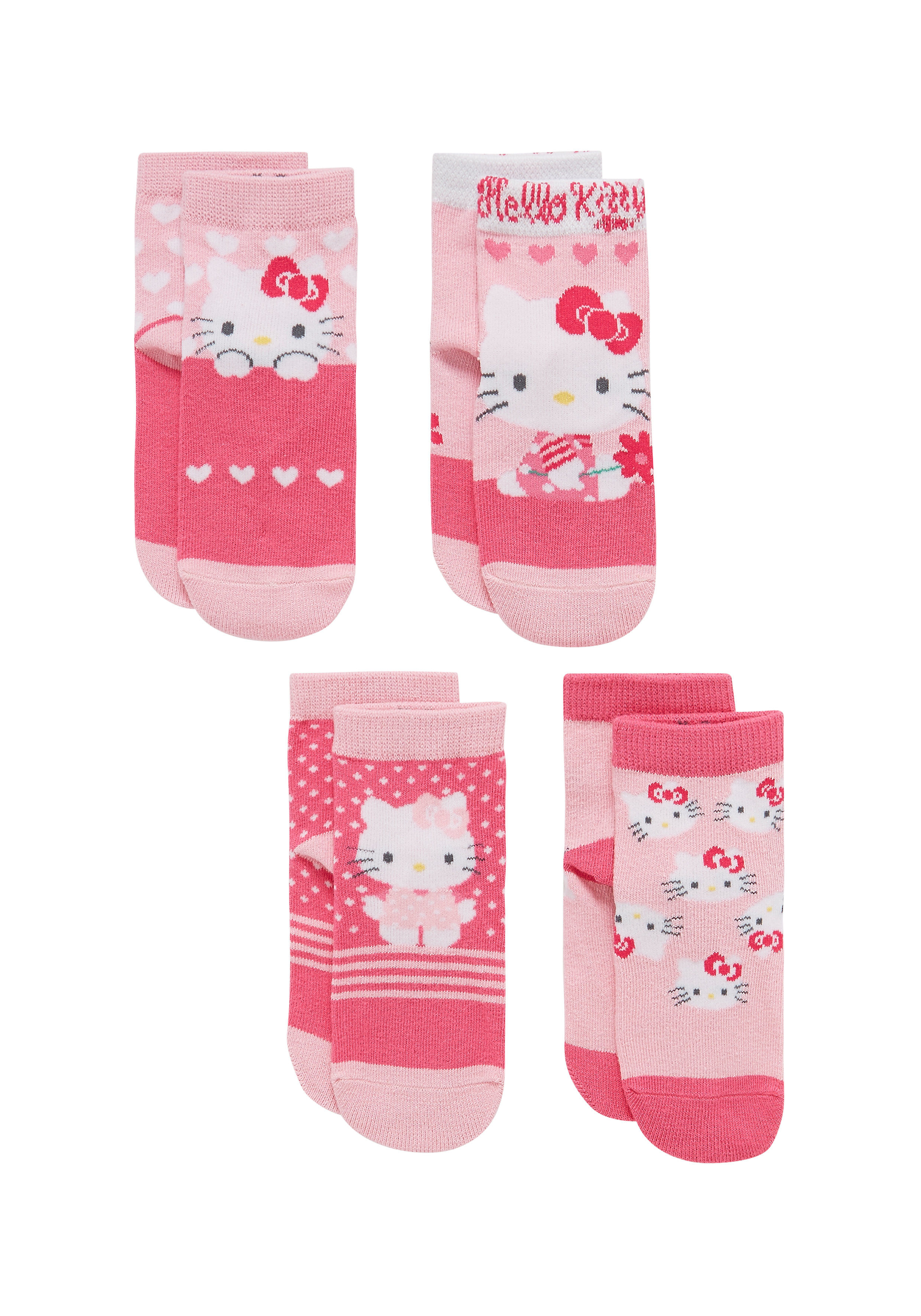 Mothercare | Girls Socks Kitty Pattern - Pack Of 2 - Pink