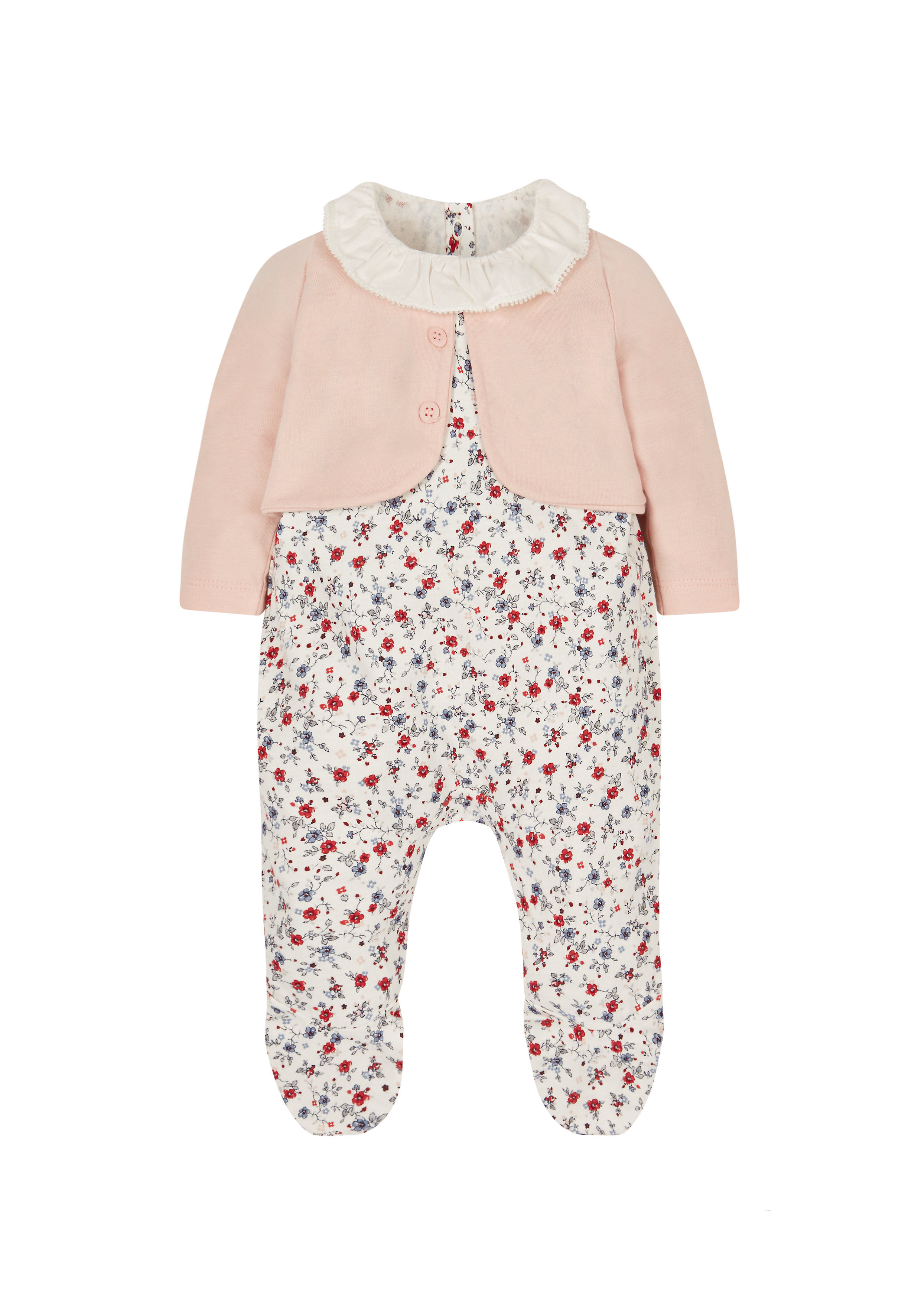 Mothercare | Girls Full Sleeves Romper Floral Print - Multicolor