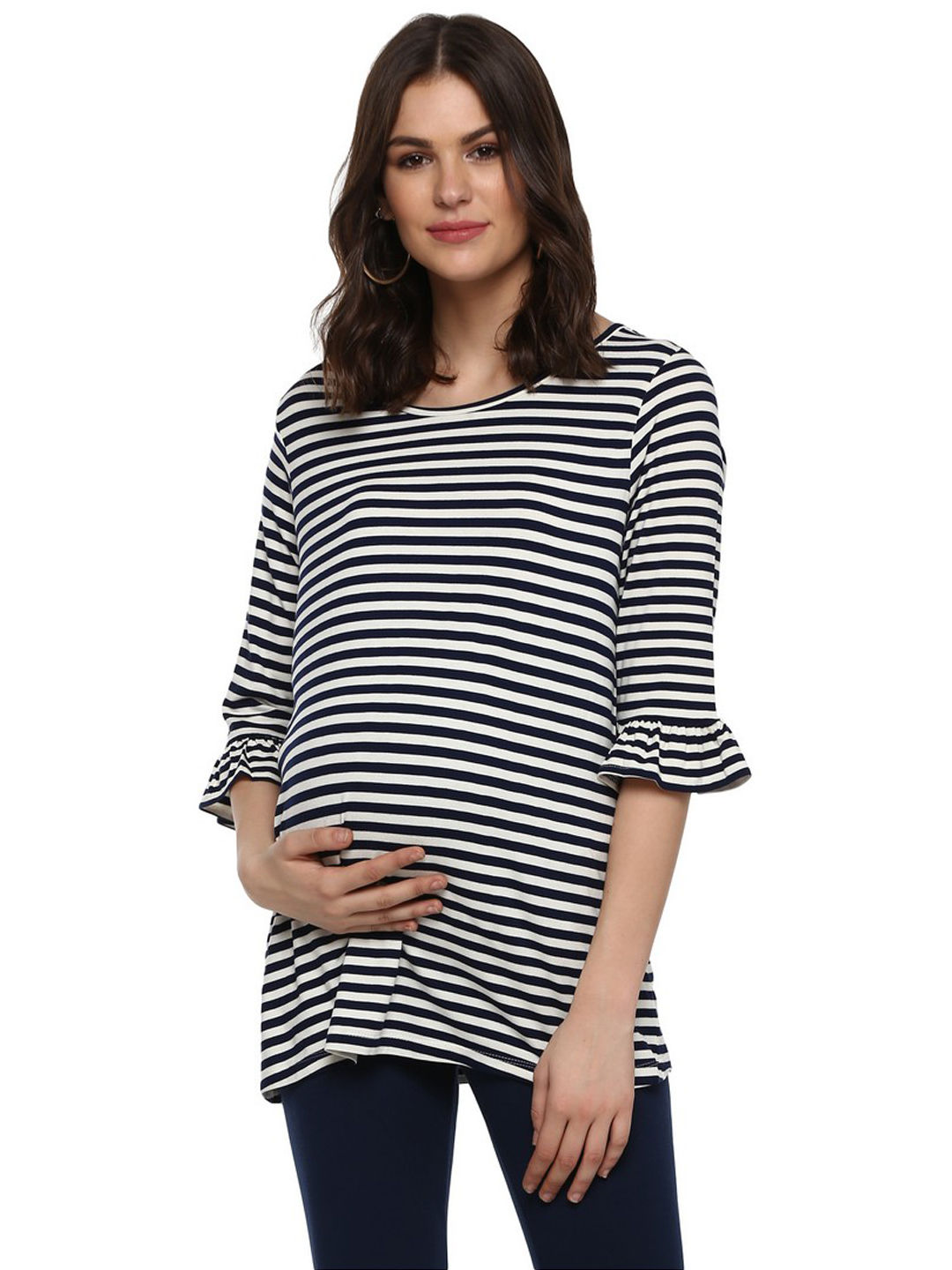 Mothercare   Momsoon women maternity three-fourth sleeves top-Striped Blue