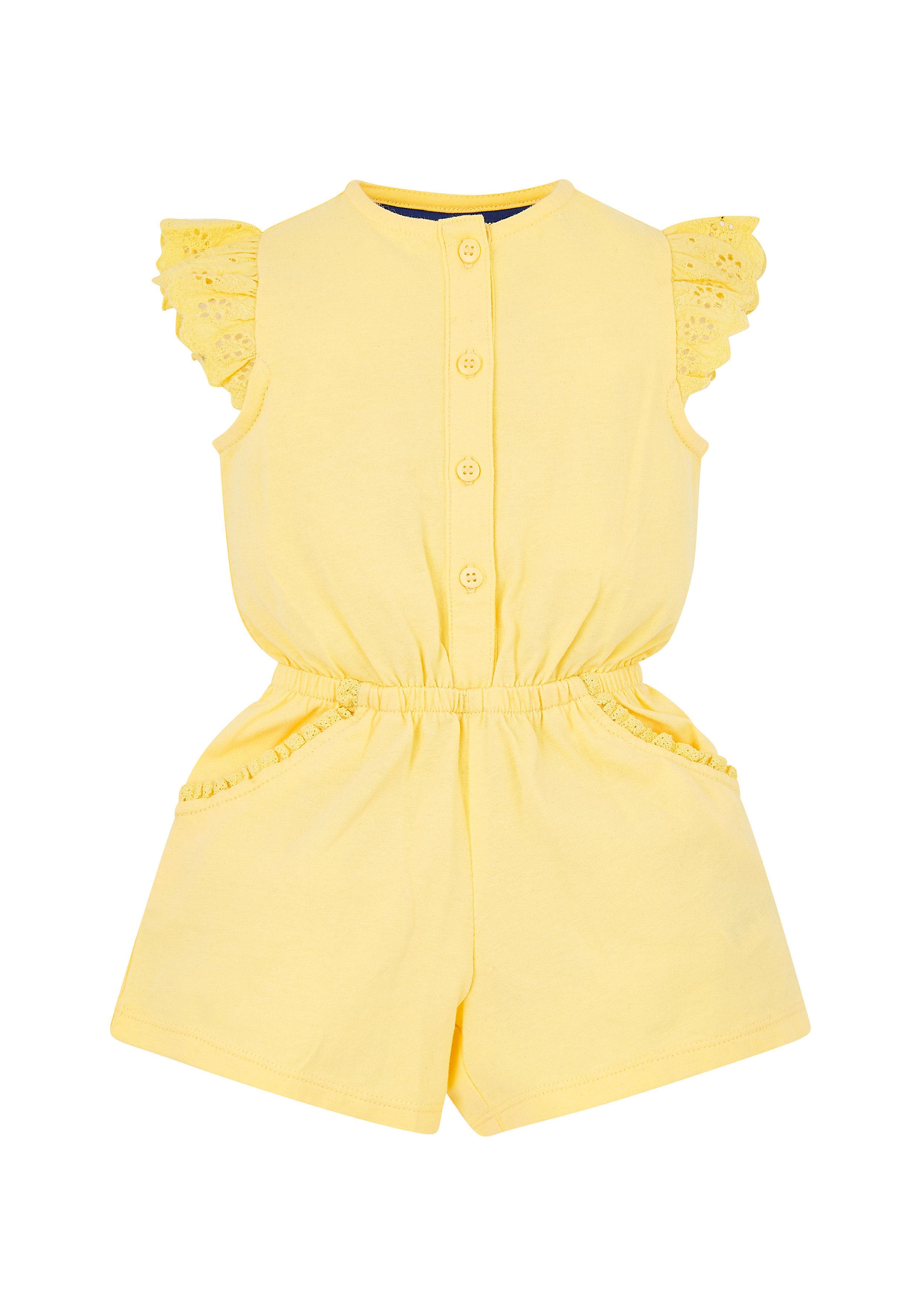 Mothercare   Girls Half Sleeves Playsuit Schiffli Detail - Yellow