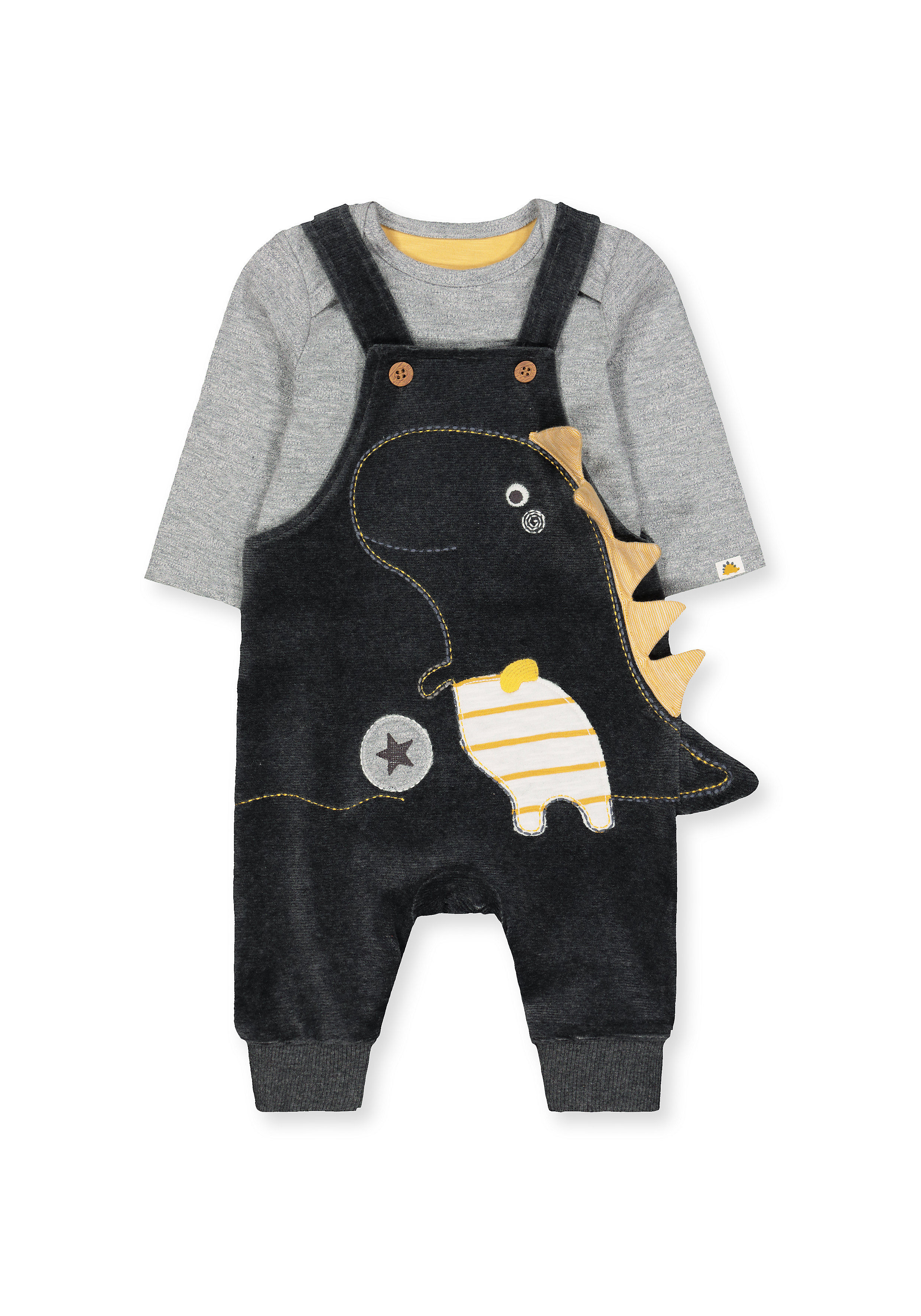 Mothercare | Boys Full Sleeves Dungaree Set 3D Dino Spikes - Black Grey