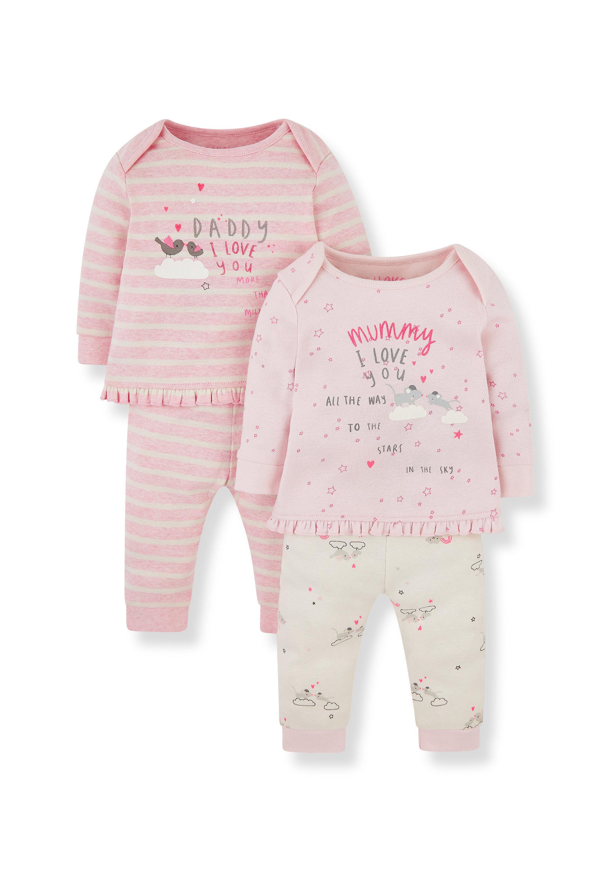 Mothercare | Girls Full Sleeves Pyjama Set Text Print - Pack Of 2 - Pink