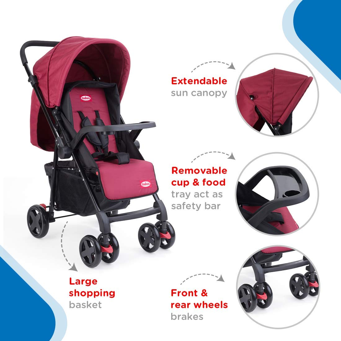 Mothercare   Nuluv Reversible Baby Stroller Red