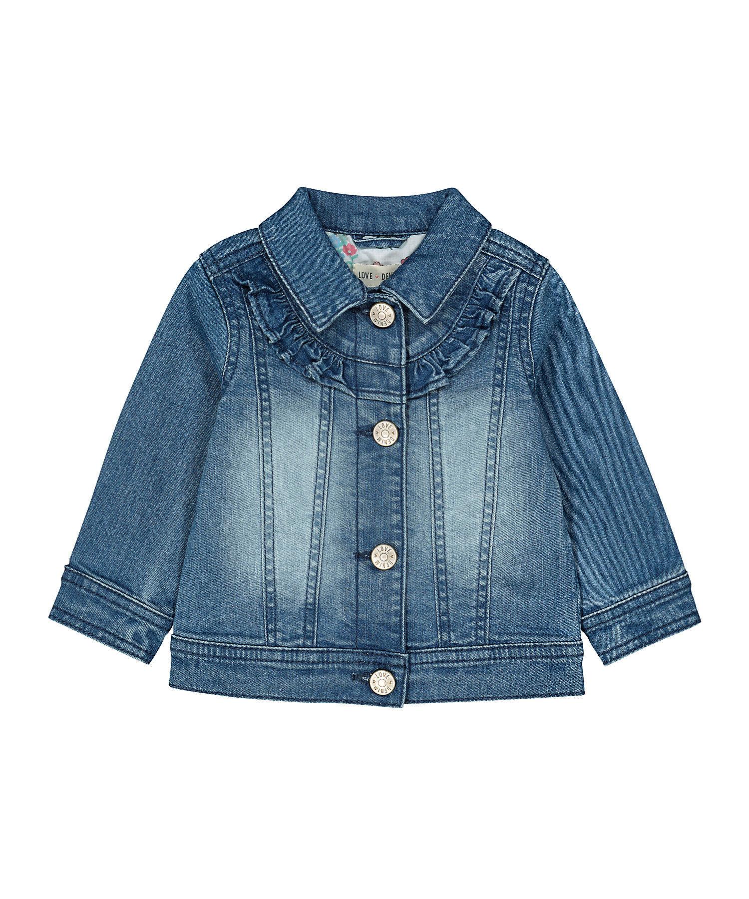 Mothercare | Girls Full Sleeves Denim Jacket Frill Detail - Blue