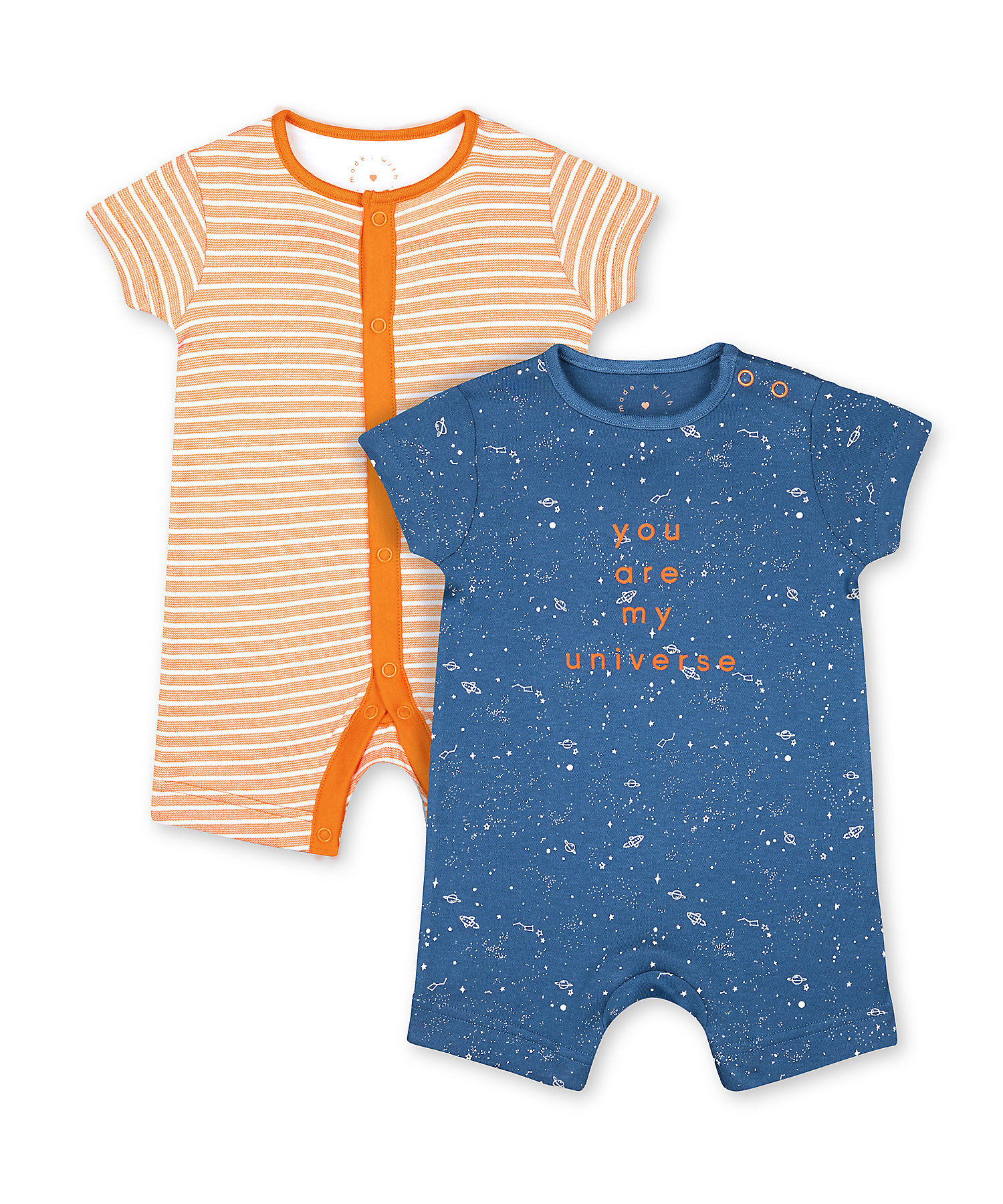 Mothercare | Boys Half Sleeves Romper Striped And Space Print - Pack Of 2 - Navy Orange