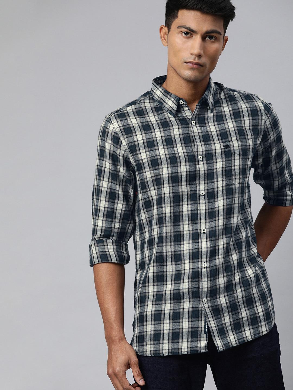 The Bear House | Men's Blue Checkered Casual Shirt