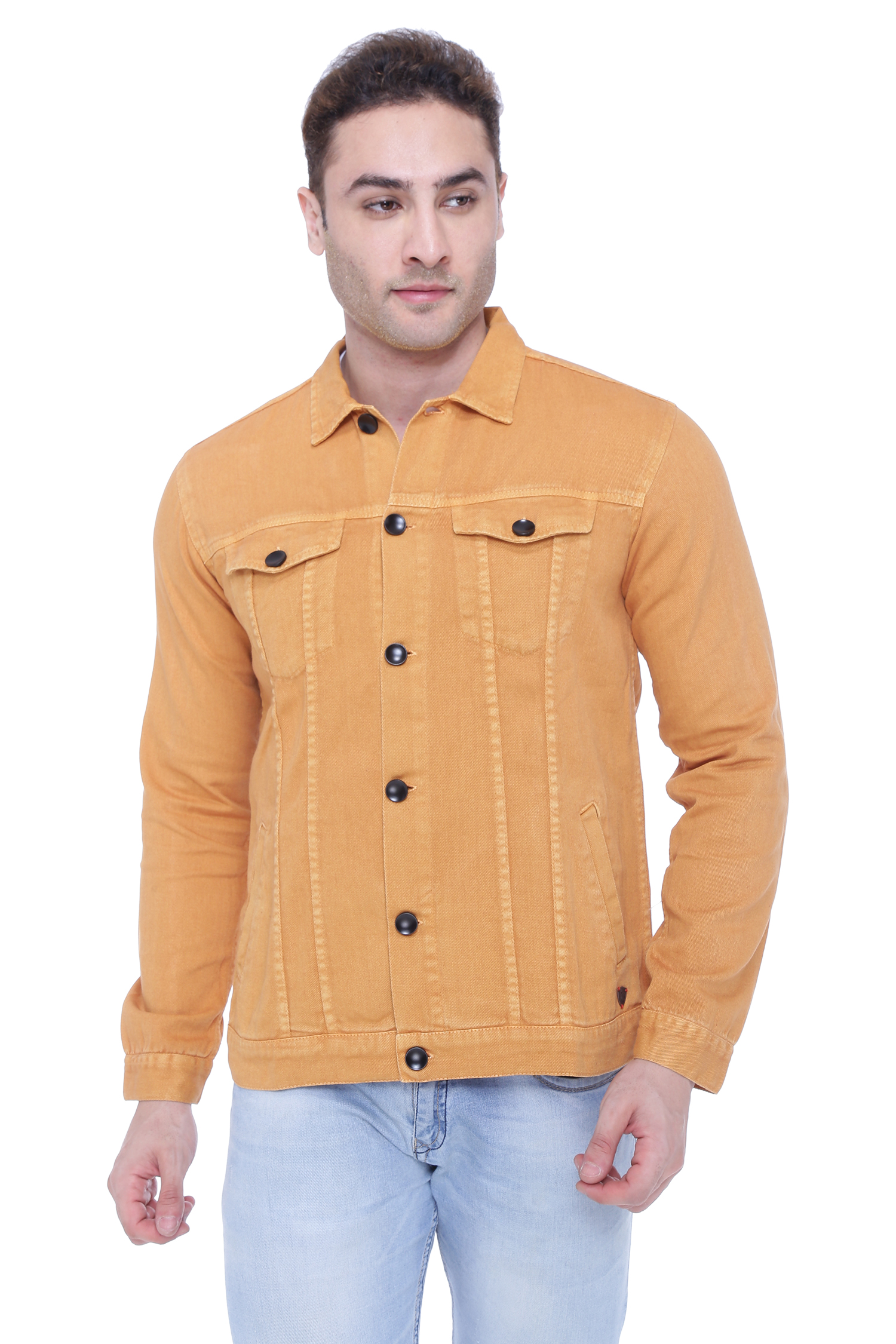 Kuons Avenue | Kuons Avenue Men's Mustard Denim Jacket- KACLFS1363YL