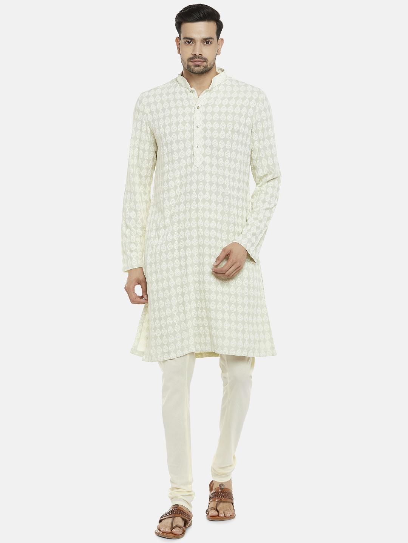 Ethnicity | Viscose Rayon Full Sleeve Straight Men Pista Green Kp Set