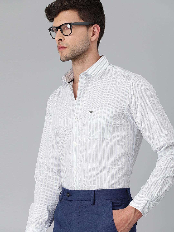 The Bear House | THE BEAR HOUSE Men White Slim Striped Luxury Giza Cotton Formal Shirt