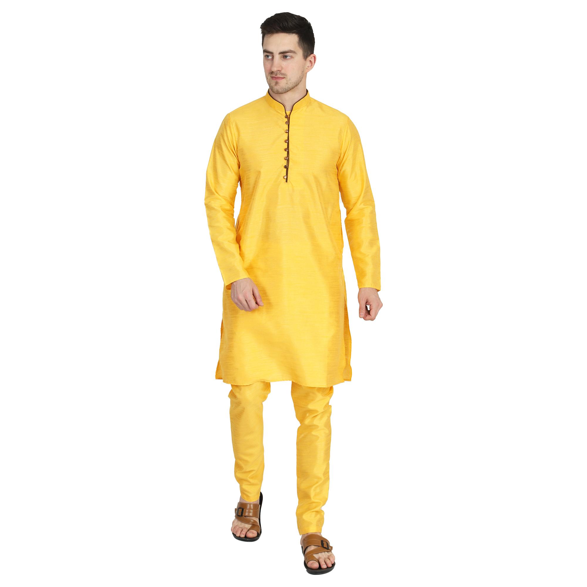 TAHVO | Tahvo Men Solid Yellow Kurta with Churidar