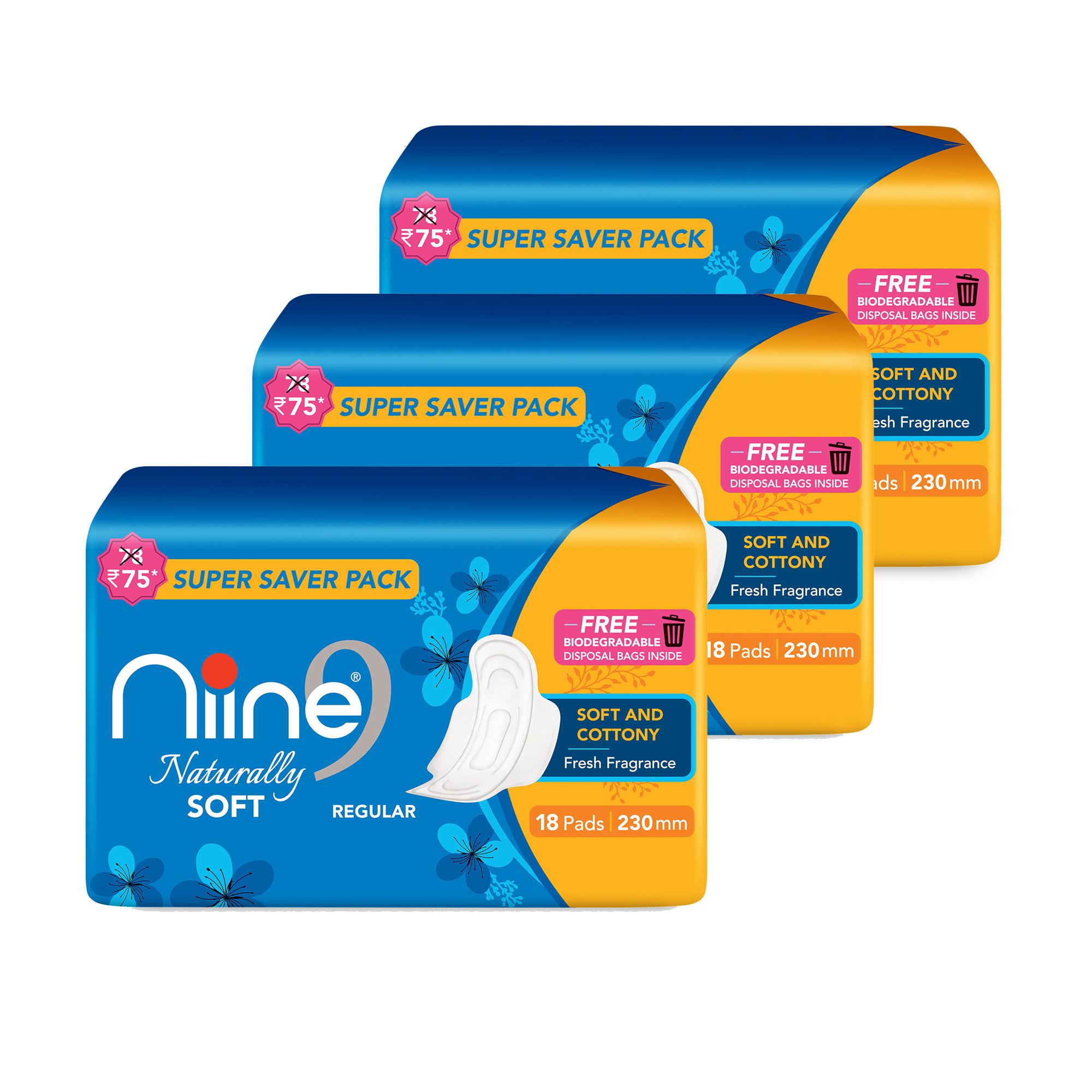 NIINE   Niine Naturally Soft Regular SUPER SAVER PACK Sanitary Napkins for Women
